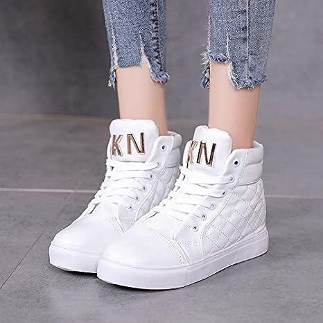 78b6baa69af9d Amazon.com: HuWang Women Casual Shoes Fashion Lace-Up Flats White ...