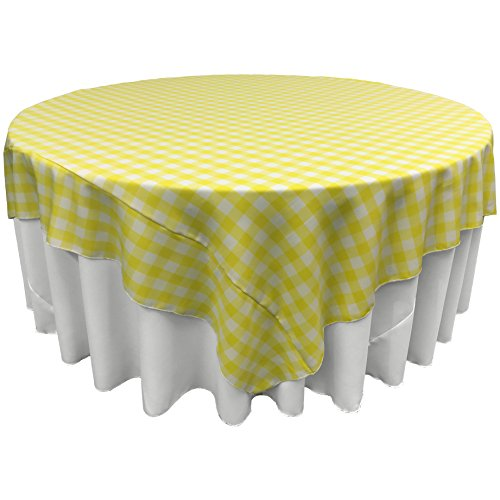 LA Linen Poly Checkered Square Tablecloth, 72 by 72-Inch, Light ()