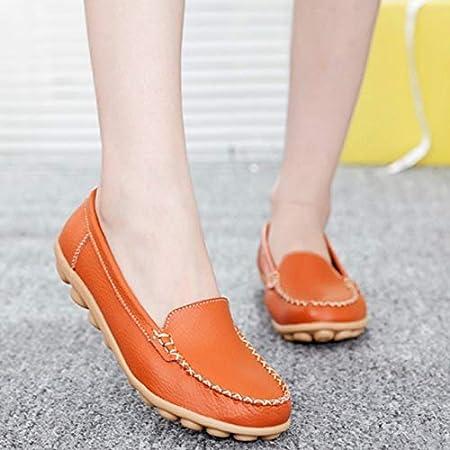 أحذية Vulcanize للنساء - أحذية جلدية عالية الجودة أحذية نسائية بدون كعب أحذية أم نساء صيفية ربيع خريف سهلة الارتداء مقاس إضافي للسيدات أحذية مسطحة ترويج (W62-برتقالي-38)