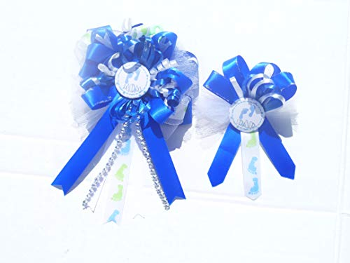Baby Feet Themed Baby Shower Party Corsage for Mom and Dad (Royal Blue)