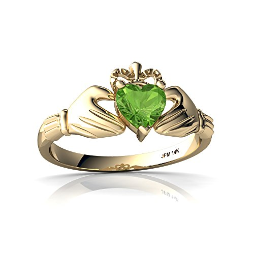 14kt Yellow Gold Peridot 5mm Heart Claddagh Ring - Size 6