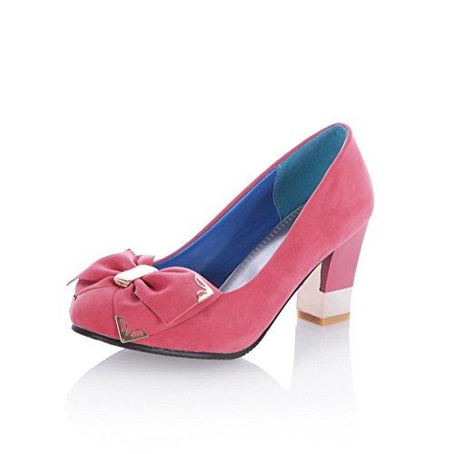 Allhqfashion Dames Ronde-teen Kitten-hakken Frosted Bloemen Pumps-schoenen Roze