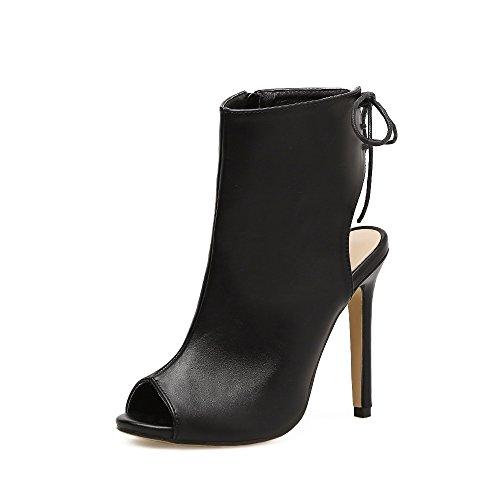 ZHZNVX La nueva terraza lateral con elegante, fresco y sexy botas zapatos de tacón black