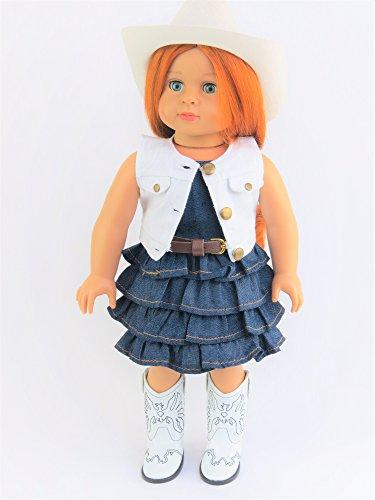 Berenguer Doll Clothing (Denim Dress with White Denim Vest | Fits 18