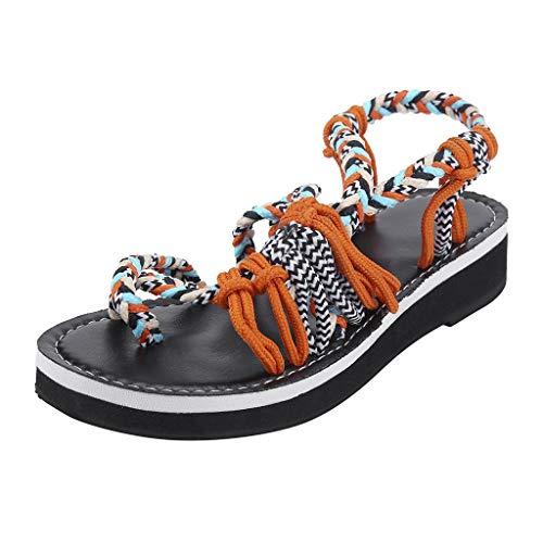 Flat Sandals for Women Strap Braided Hiking Hemp Rope Flip Flops Beach Slipper Arch Support Summer (Orange -5, US:9.0)