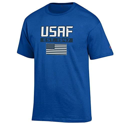 Air Force T-shirt Adult - Champion Men's USA Military Collection Cotton T-Shirt-US Air Force- USA Flag/EST. 1947-Royal-XL