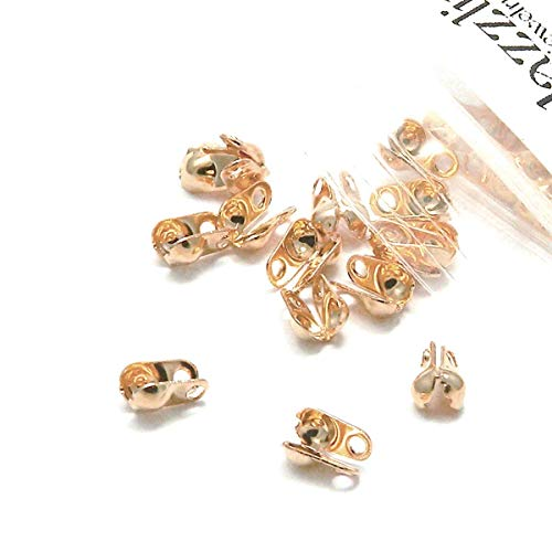 100 Side Fold Clamshell Bead End Tips with Double Loop Hide Knots & Crimp Beads (Rose Gold Plated)