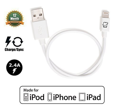 DJI Inspire 1 Phantom 3 Phantom 4 Compatible CreatePros Apple Certified USB Cable with Lightning Connector for iPhone, iPad and iPod - 13 Inches (33 Centimeters) - White - Apple Usb Usb Connector