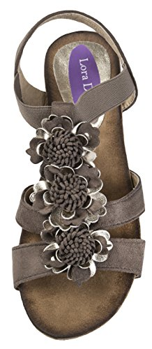 Lora Dora Womens Diamante Flower Sandals Flower Bar - Mocha 64P6iQ