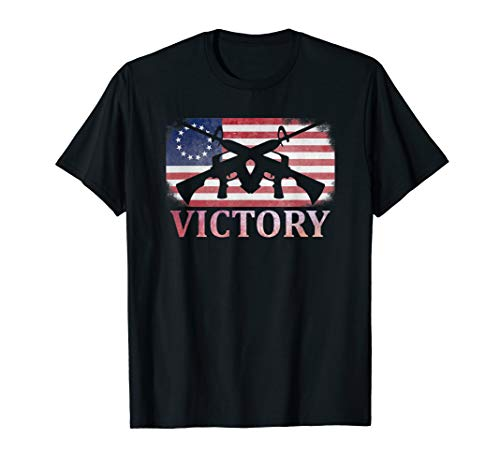 Betsy Ross American Flag VICTORY AR-15 Rifle Gun Patriotic T-Shirt