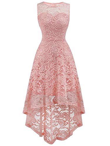 Peach Pink Lace - FAIRY COUPLE Women's Vintage Floral Lace Hi-Lo Sleeveless Cocktail Formal Swing Dress L Peach Pink