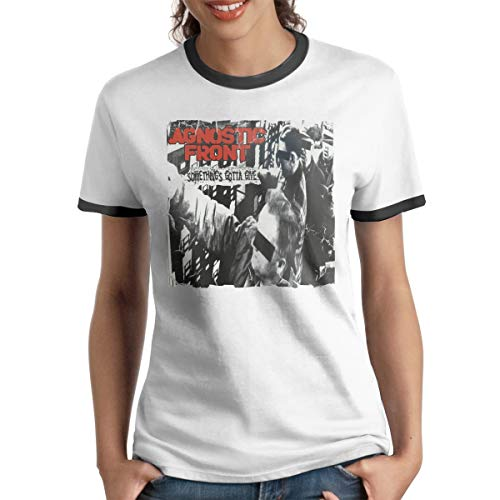 Agnostic Front Something's Gotta Give Band Music Theme Fashion Women's Short Sleeve T-Shirt S Black