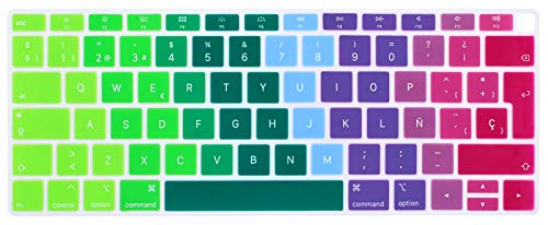 HRH Spanish Language Silicone Keyboard Cover Skin for MacBook Newest Air 13 Inch 2018 Release A1932 with Retina Display and Touch ID,European Layout-Rainbow