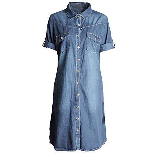DEATU Women Mini Dress, Women's Denim Buttons Loose Casual 3/4 Sleeve Dress(Blue,Size XXL)
