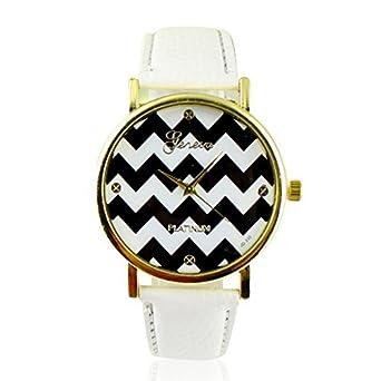Amazon.com: Unisex Casual Stripes Faux Leather Wrist Watch ...