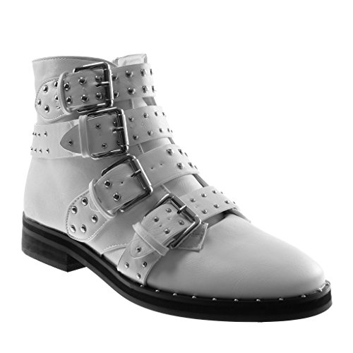 3 cavalier CM boots studded Ankle Angkorly White biker Block multi heel Booty straps Fashion Shoes 2 pearl boots Women's high combat 5 IIHxqzpTw