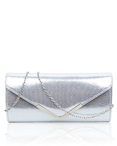 Silver cm Elegant Clutch Bag Fashion 5 Patent Women's Ladies Size Satin Prom Evening Party Handbag 26x12x5 Wedding Shiny aHdwZnqC