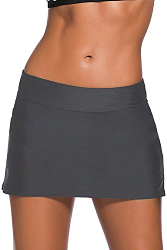 Ecosunny Women's Swimming Skirt Boardshort Waistband Solid Color Skort Bikini Bottom Swimdress (XXL, Gray)