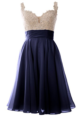 MACloth Women Straps Short Prom Dress Lace Chiffon Wedding Party ...