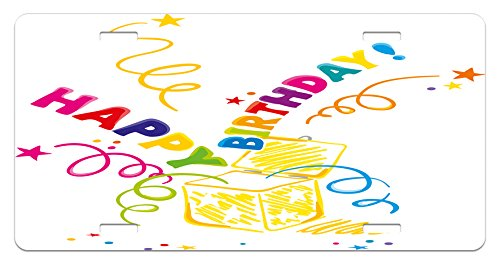Birthday License Plate by Ambesonne, Surprise in a Box Theme Doodle Style Cheerful Spirals Confetti and Stars Happiness, High Gloss Aluminum Novelty Plate, 5.88 L X 11.88 W Inches, Multicolor