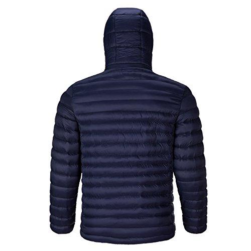 Cappuccio Large Con Lunga Imbottita Cappotto Size Giacca Uomo bmeigo Coat Manica Xxxl Overcoat Warm Blue Quilted Cerniera Per Outdoor aqXYR