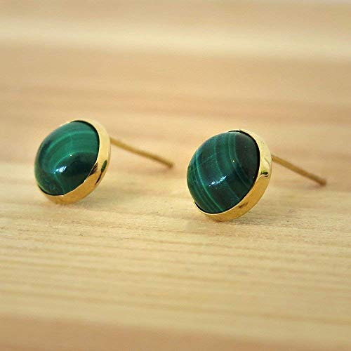 Stud 14k Malachite - 14K Gold Malachite Studs Earrings - 14K Solid Yellow Gold Studs, Round 6mm Natural Stone, Genuine Dark Green Malachite Gemstone, Simple Minimalist Dainty Handmade Jewelry for Classy Women