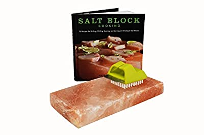 Himalayan Salt Block Cookbook Cooking Bundle: Salt Block, Salt Block Cookbook and Salt Block Cleaning Brush by True Brands, Charcoal Companion