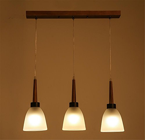 Atcoe Hanging lights Chandeliers Solid wood glass triple pendant lamp bedroom dining room living room chandelier