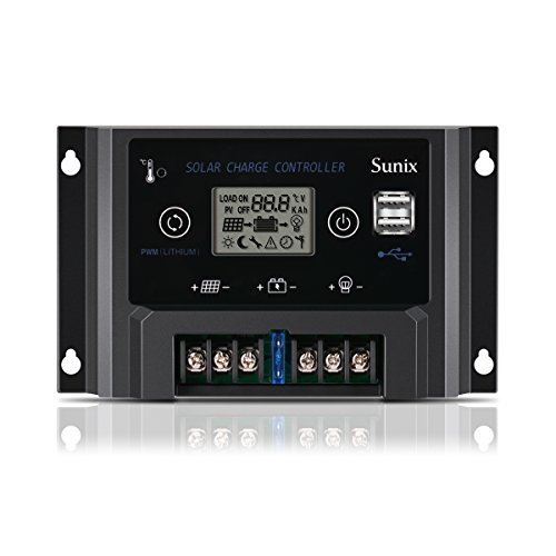 Sunix 20A Solar Charge Controller, Upgraded Solar Panel Charge Intelligent 12V/24V Auto Regulator with Fuse, Dual 5V 2A USB Port, Overload Protection Temperature Compensation by Sunix