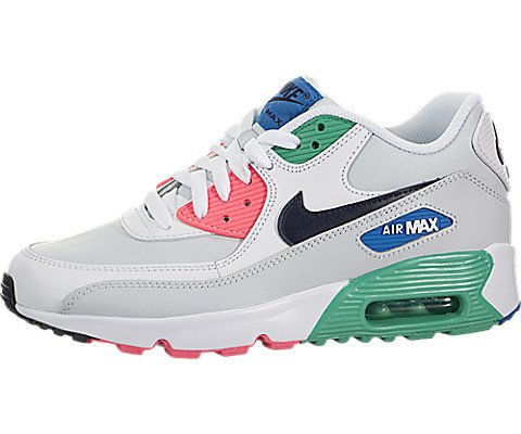 online store c9256 3143b Galleon - NIKE Kids Air Max 90 LTR (GS) White Obsidain Pure Platinum  Running Shoe 6.5 Kids US