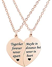 d5015bd154 Best Friend Necklaces BFF Necklace for 2-Split Valentine Heart Together  Forever Never Apart Best