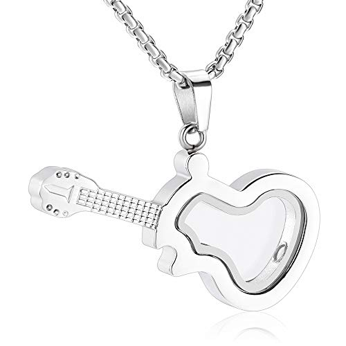 EternityMemory Glass Guitar Stainless Steel Cremation Urn Necklace For Memorial Ashes Women Men Keepsake