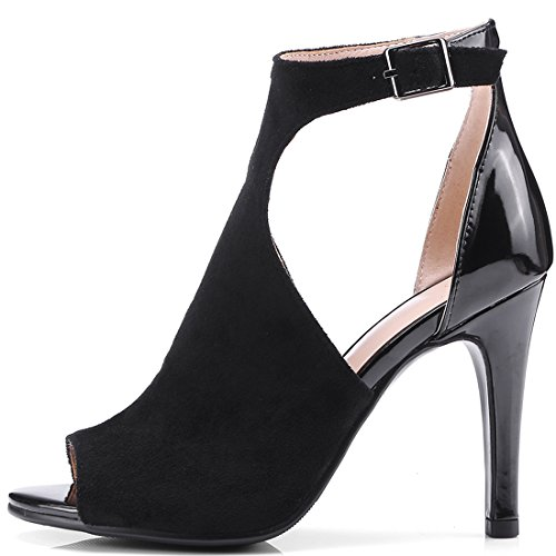 YE Women's Ladies Cut Out Stiletto High Heel Peep Toe Ankle Strap Sandals Shoes Size Black 7AQHy0v