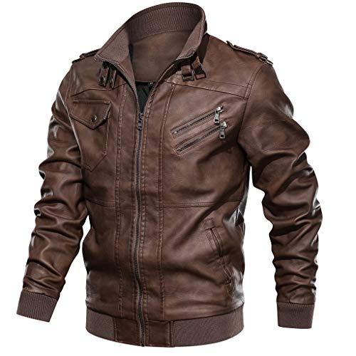 Men's Long Sleeve Leather Jacket, Males Zipper Pockets Autumn Winter Vintage Stand Collar Casual Biker Coat Tops