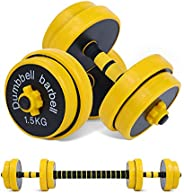 NiceC Adjustable Dumbbell Barbell Weight Pair, Free Weights 2-in-1 Set, Non-Slip Neoprene Hand, All-Purpose, H