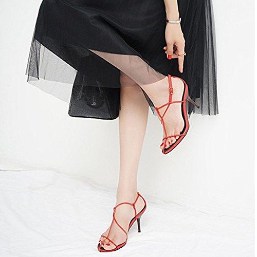 Uk3 Sangles couleur Haute Zhirong Talon Cn35 Mode D'été À Talon Eu36 Croisées Blanc Shoes7 De Fin 5cm Femmes Sandales Rouge 5 Ouvert Bout Romain Taille TEAq51wxA