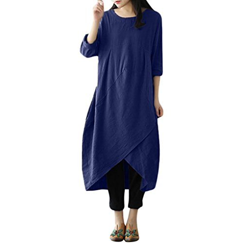 Top 3 Largas Vestidos Maxi Tunicas 2018 Camiseta Blusa Oversize 4 mujer Boho Elegantes Manga Chic Armada Moda para De Caftan Asimetricos ZARLLE Vestidos Vestidos Casual Lino Dress para Mujer UqzFxS7w