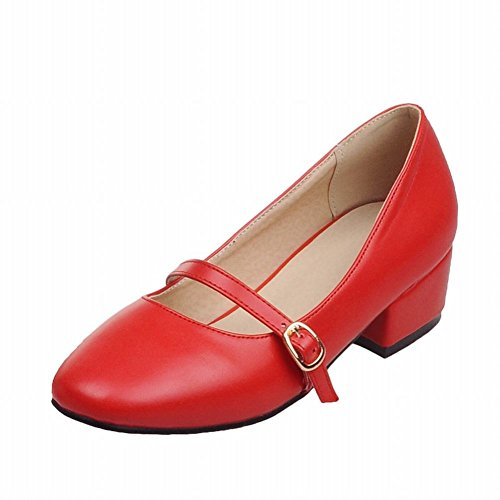 Show Shine Womens Sweet PU Leather Block-heel Court Shoes Apricot uAt6ik