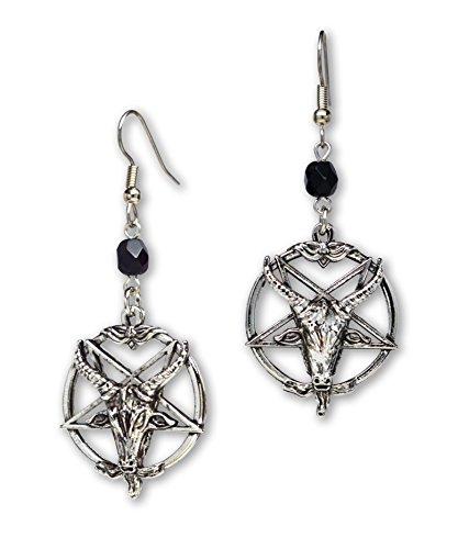 Baphomet Satanic Goat Head Inverted Pentagram Silver Finish Dangle Earrings ()