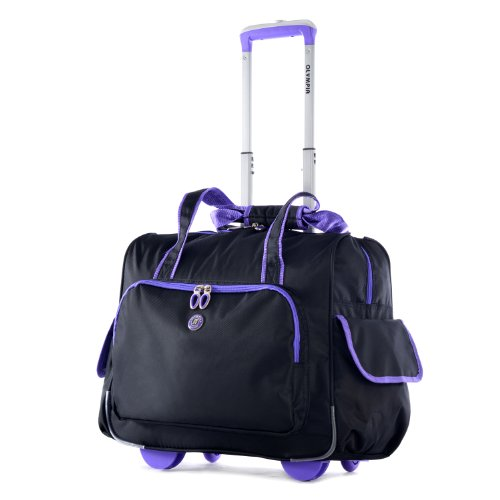 Overhead Roller Bag (Olympia Deluxe Fashion Rolling Overnighter, Black/Purple, One Size)