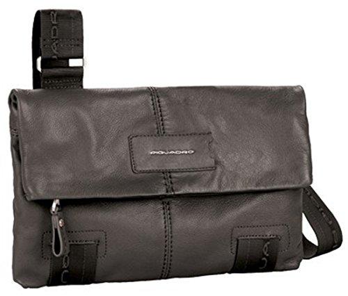 Piquadro Schultertasche aus weichem Leder kompakt schwarz BD2589W48/N
