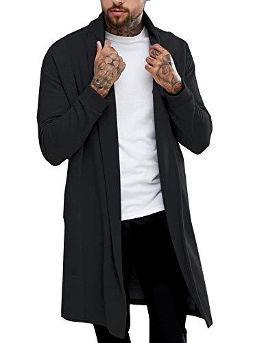 (Pacinoble Men's Ruffle Shawl Longline Cardigan Draped Lightweight Open Front Cotton Long Length Coat)
