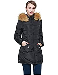 Orolay Women's Down Jacket with Removable Faux Fur Trim Hood