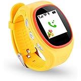 FAIRTEK Pro-Mobile F7 ® Kinder GPS, LBS, WiFi SOS Notrufuhr Notrufmelder Ortungsgerät Tracker Ortung Tracking GeoZaun Notruf Uhr, Pedometer, Automatische Anrufannahme mit SOS-Taste in GELB (Live Online GPS-Tracking-Portal mit APP für Android & iPhone kostenlos inbegriffen!)