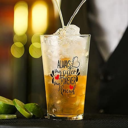 Vaso de cristal Always My Sister Forever My Friend para agua, zumo, cerveza, licor, whisky en boda, fiesta, día de la madre, día del padre, cumpleaños.