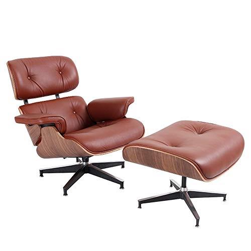 Silla de salon, de piel autentica, clasica y moderna, reclinable con base resistente para sala de estar, estudio, sala de estar, oficina