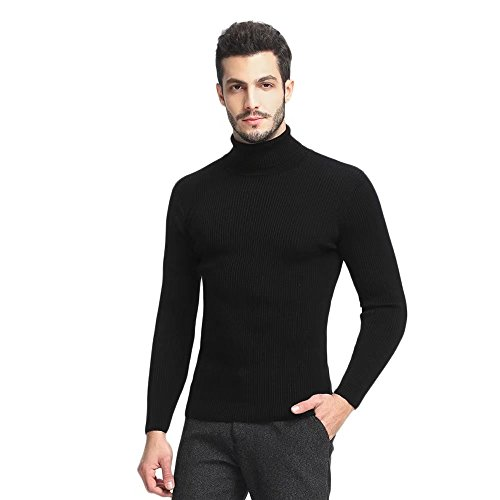 Mens Turtleneck Sweaters Long Sleeve Slim Fit Pullover Casual Basic Fashion Solid Thermal Soft Knitted Tops Black Large (Slim Pullover Lightweight)