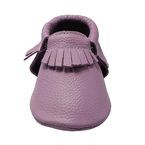 Pictures of YIHAKIDS Baby Tassel Shoes Soft Leather Sole Infant Toddler Moccasins First Walkers Shoes Multi-colors (US 4M (4.5in/3-6Mo.), Light Purple) 5