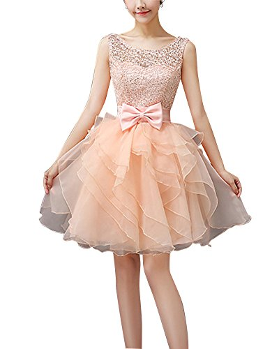 Para Vestido Novia Arco De Cintura Con Mujer Champán Fiesta Coctel Floral Corto Vestido De Sq5vxRw