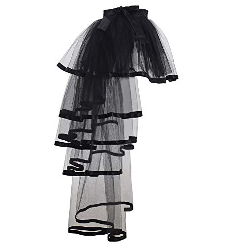 GRACEART Steampunk Tie-on Bustle Costume Tutu Lace Underskirt (Black -